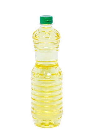 Plastic bottle of sunflower oil  photo