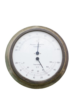 humidity gauge: Close up of hygrometer (vintage humidity meter). Stock Photo