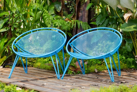 vintage chair: Blue garden metal chairs.