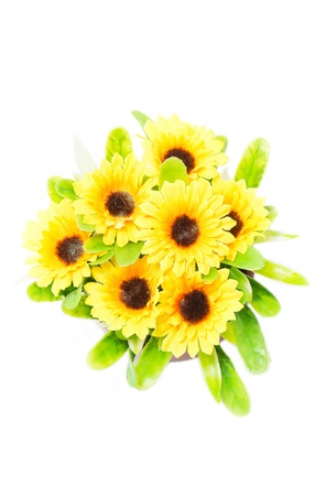 Top view of artificial sunflower bunch isolated on white background. photo
