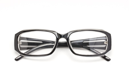 educations: Black eye glasses isolated on white background  Stock Photo