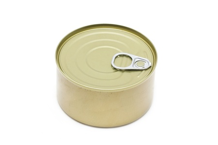 Can of tuna closed isolated on white background. photo