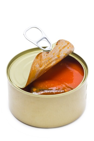 vegetable tin: Can open with mackerel and tomatoes sauce inside.Isolated on white.