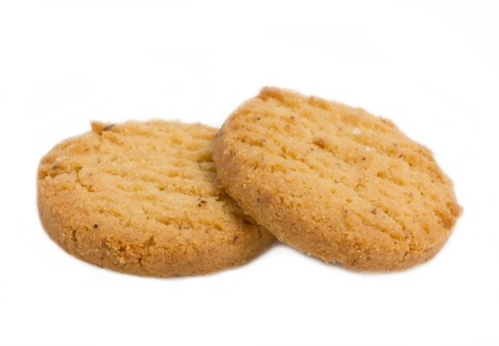Close up of two cookies.