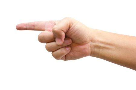 dedo apuntando: Punto de la mano humana con los dedos aislados en blanco.