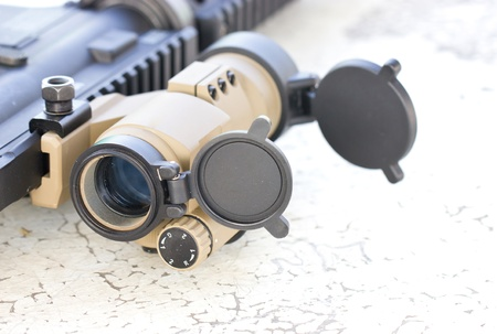 old rifle: Close up of sniperscope of a gun  Stock Photo