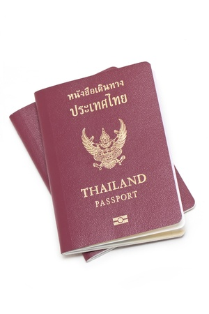 Thai electronic passports  issued by a government in Thailand , isolated on white  photo