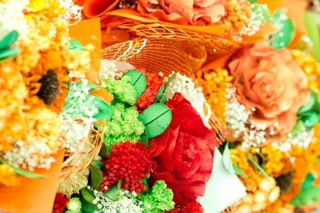 Artificial flowers close up. photo
