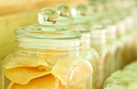 sweeten: Mango preserve fruit in galss jar.