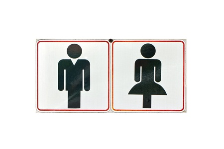 Toilet or restroom sign isolated on white  photo
