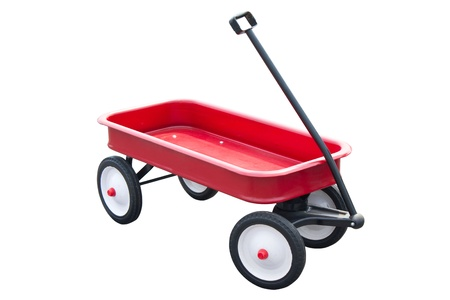 wagon: Red pull trolley isolated on white