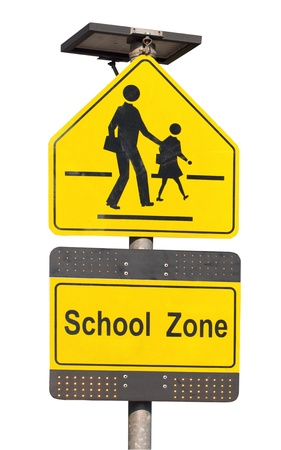 School zone sign isolated on white  photo