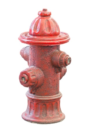 Old and dirty fire hydrant isolated on white  photo
