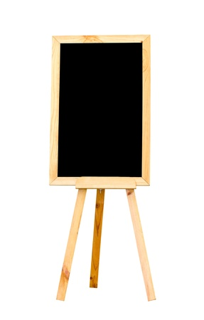Blank chalk board isolated on white  photo