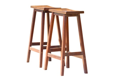 bar counters: Two of wooden stools