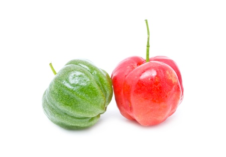 l nutrient: Barbados cherry isolated on white  Stock Photo