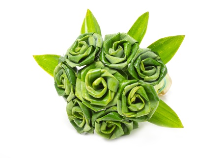 pandanus: Rose of Pandan leaf isolated on white