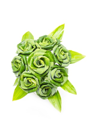 artificial flowers: Rose of Pandan leaf isolated on white