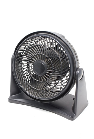 Dusty black motor fan isolated on white