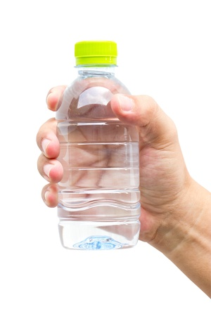 Man hand with bottle of water isolated on white  Stock Photo - 20556838