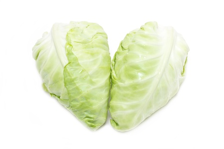 White Cabbage in heart shape isolated on white  photo