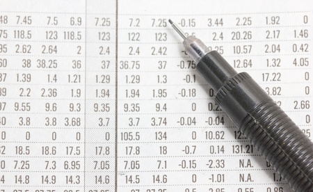 Close up of a financial section with automatic pencil  photo