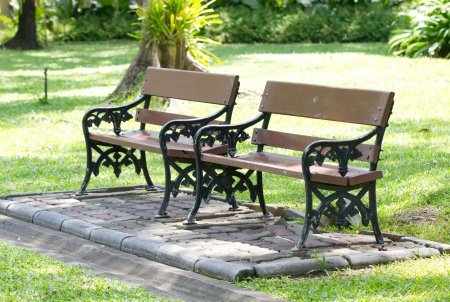Empty wooden bench in the park  photo