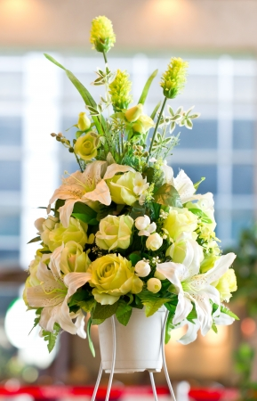 Green rose and white lily artificial flowers bunch  photo