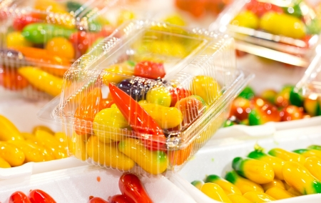 plastic made: Deletable imitation fruits-Traditional Thai Dessert made from nut and jelly in transparent plastic carton