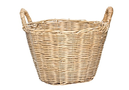 Woven Basket Isolated on White  Stock Photo