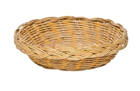 Woven Basket Isolated on White  photo
