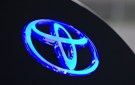 BANGKOK - MARCH 27 : Close up of Toyota Badge at The 34th Bangkok International Motor Show 2013 on March 27, 2013 in Bangkok, Thailand.