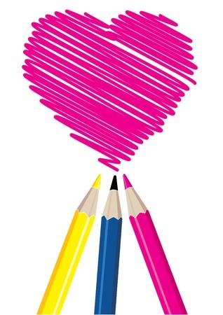 Three pencils drawing heart shape illustration Stock Vector - 21042545