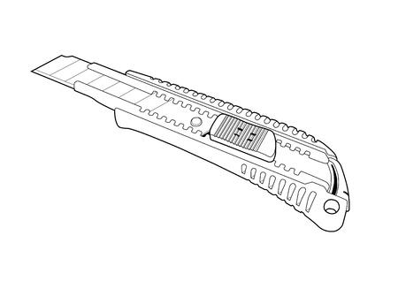 lever: cutter knife line art
