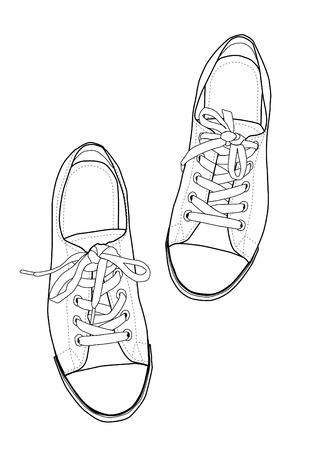 youth sports: sneakers line art