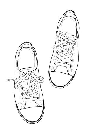 escarpines: zapatillas de deporte dibujos lineales Vectores