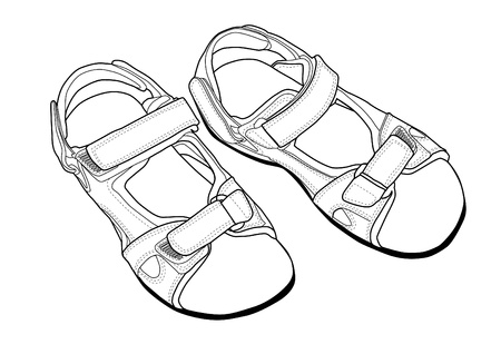shoes off: Climbing Sandals line art