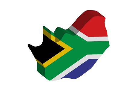african culture: 3D flag map of South Africa