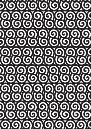 Black and white Asian style spiral pattern