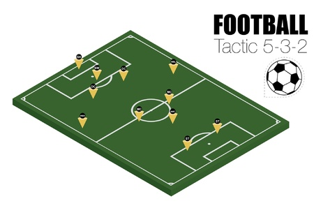 Soccer strategy formation type 5-3-2 Vector