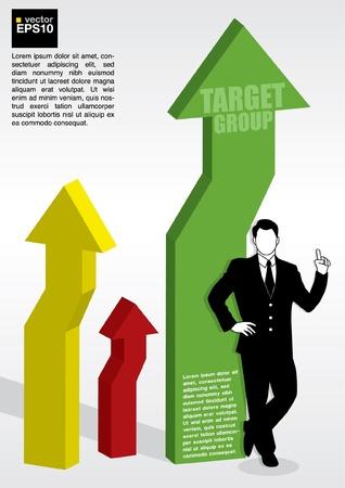 compare: 3D  progress arrows with businessman beside