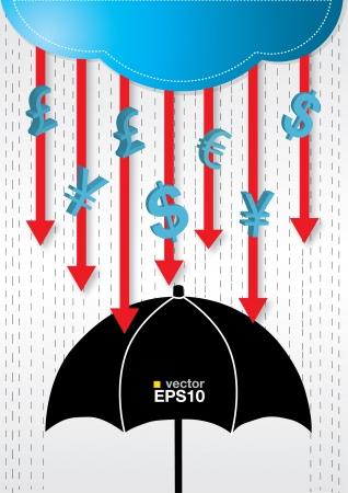 money rain: Money rains drop conceptual Illustration