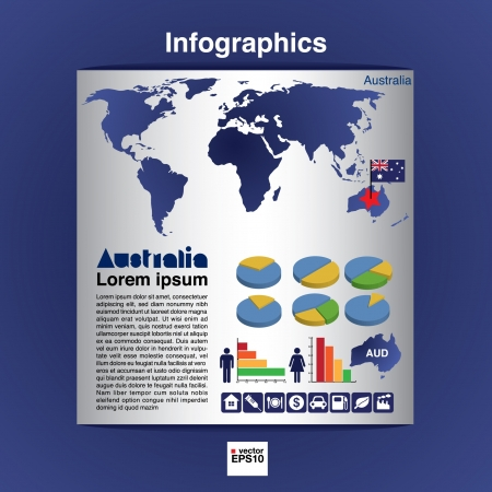 Infographic map of Australia show population and consumption statistic information Vector