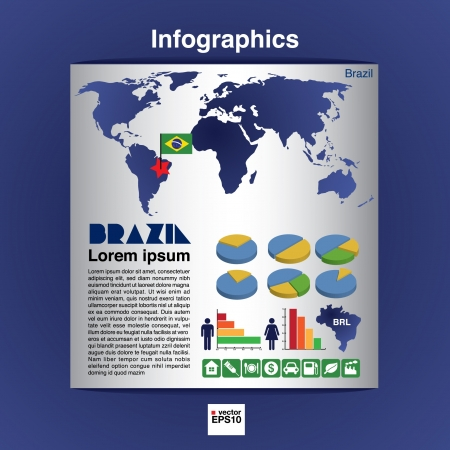 Infographic map of Brazil show population and consumption statistic information  Vector