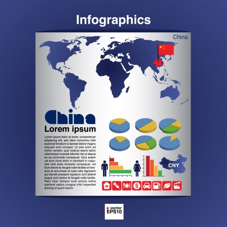 Infographic map of China show population and consumption statistic information Vector