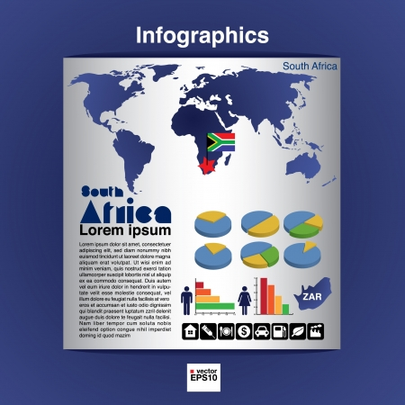 Infographic map of Africa show population and consumption statistic information  Vector