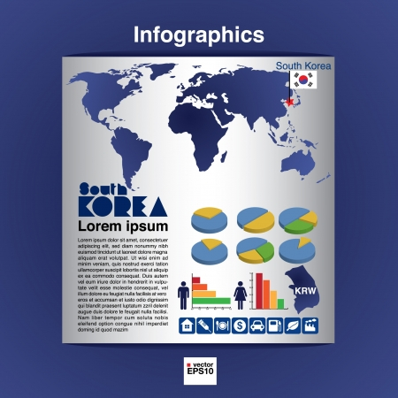 Infographics map of South Korea show population and consumption statistic information  Vector