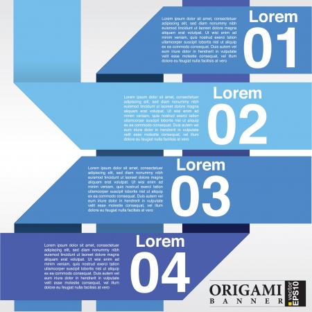 Abstract blue banners  in four step