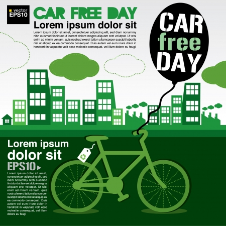 September 22nd World car free day ecology conceptual  Vector