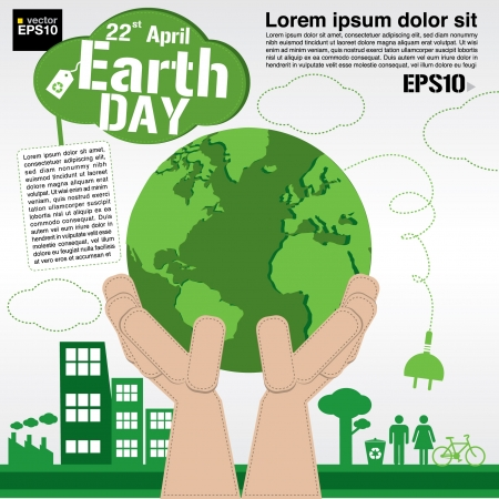earth pollution: April 22nd Earth day illustration conceptual